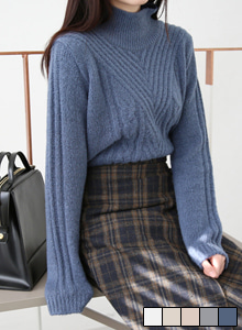 66GIRLSPatterned Turtleneck Knit Top