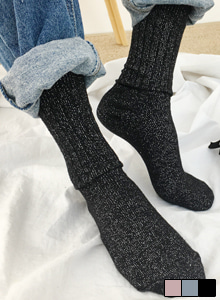 66GIRLSGlittery Rib Knit Socks