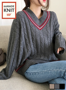 66GIRLSContrast Stripe V-Neck Cable Knit Top