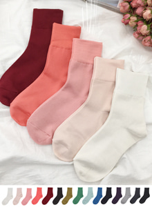 66GIRLSBanded Cuff Solid Tone Socks