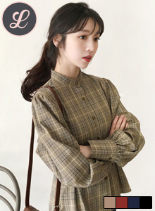 66GIRLSBand Collar Check Blouse