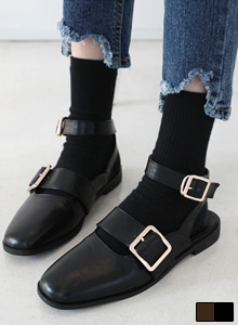 66GIRLSBuckled Slingback Ankle Strap Loafers