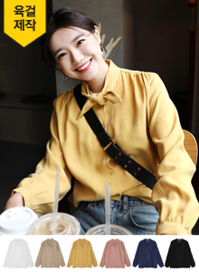 66GIRLSBow Neck Peasant Sleeve Blouse