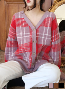 66GIRLSV-Neck Check Cardigan