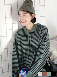 66GIRLSHooded Stripe Knit Top