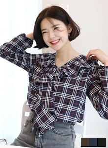 66GIRLSRuffle Check Blouse