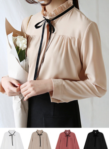 66GIRLSBow Frilled Neck Blouse