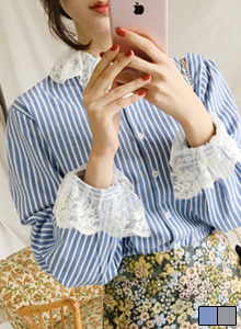 66GIRLSLace Embellished Stripe Blouse