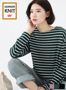 66GIRLSStripe Knit T-Shirt