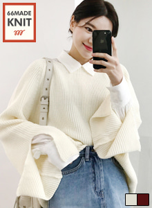 66GIRLSBoat Neck Slit Sleeve Knit Top