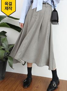 66GIRLSFlared Houndstooth Skirt