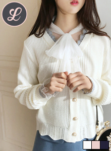 66GIRLSTinsel Trim Faux Pearl Button Cardigan