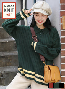 66GIRLSFlat Collar Contrast Stripe Knit Top