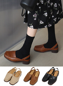 66GIRLSSquare Toe Slingback Loafers