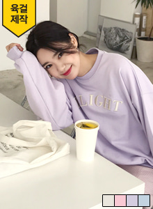 66GIRLSLoose Fit Lettering Embroidery Sweatshirt