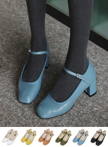 66GIRLSSquare Toe Mid Heeled Mary Jane Shoes