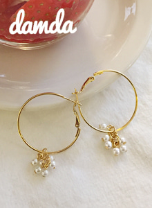 66GIRLSFaux Pearl Hoop Earrings