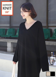 66GIRLSV-Neck Long Sleeve Knit Dress