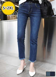 66GIRLSMid Rise Frayed Hem Jeans
