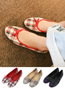 66GIRLSBow Check Flats