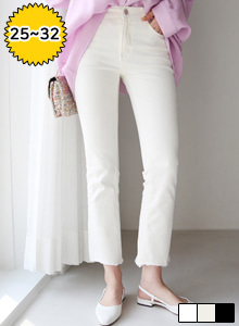 66GIRLSMid Rise Raw Hem Straight Cut Pants