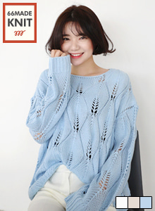 66GIRLSEyelet Loose Fit Knit Top