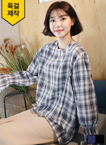 Bell Sleeve Check Blouse
