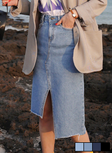 66GIRLSSlit Asymmetrical Hem Denim Skirt