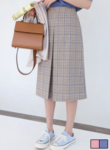 66GIRLSSlit Accent Semi Elastic Waistband Check Skirt
