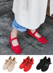 66GIRLSBuckled Faux Suede Flats