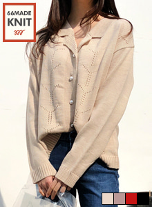 66GIRLSFaux Pearl Button Notched Collar Cardigan