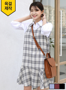 66GIRLSRuffle Hem Check Dress
