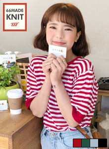 66GIRLSHalf Sleeve Stripe Knit Top