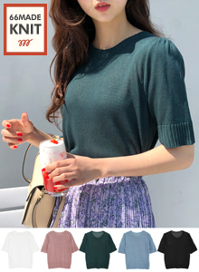 66GIRLSRound Neck Short Sleeve Knit Top
