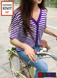 66GIRLSV-Neck Stripe Cardigan