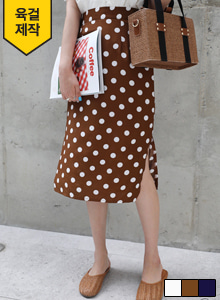 66GIRLSSide Slit Polka Dot Skirt