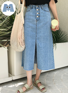 66GIRLSSlit A-Line Denim Skirt