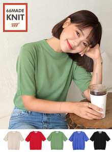 66GIRLSRound Neck Half Sleeve Knit Top