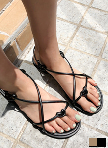 Knot-Tie Cross Strap Sandals