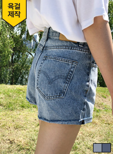 66GIRLSMid Rise Stone Washed Denim Shorts