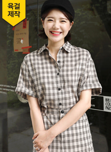 66GIRLSShort Sleeve Check Print Shirt