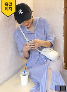 66GIRLS3/4 Sleeve Stripe Shirt Dress