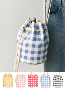 Gingham Check Bucket Bag