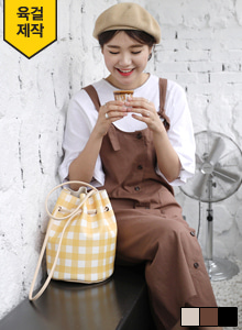 66GIRLSButton-Up Linen Blend Pinafore Dress
