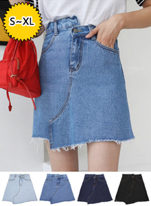 66GIRLSAsymmetrical Hem A-Line Denim Skirt