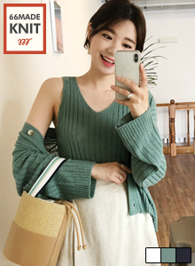 66GIRLSRibbed Knit Sleeveless Top and Cardigan Set