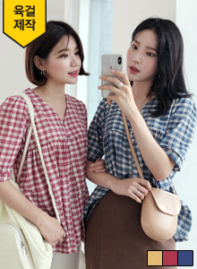 66GIRLSPuff Sleeve Check Blouse