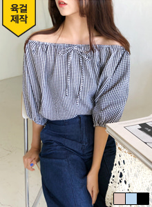 66GIRLSElastic Neckline Check Blouse