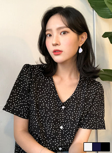 66GIRLSV-Neck Polka Dot Blouse