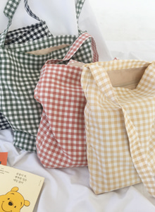 Gingham Check Cotton Crossbody Bag